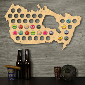Creative Wooden Craft Wall Decor Canada  Cap Map  Bottle Cap Display Holder  Decorative For Pub Bar - WoodySigns Co.