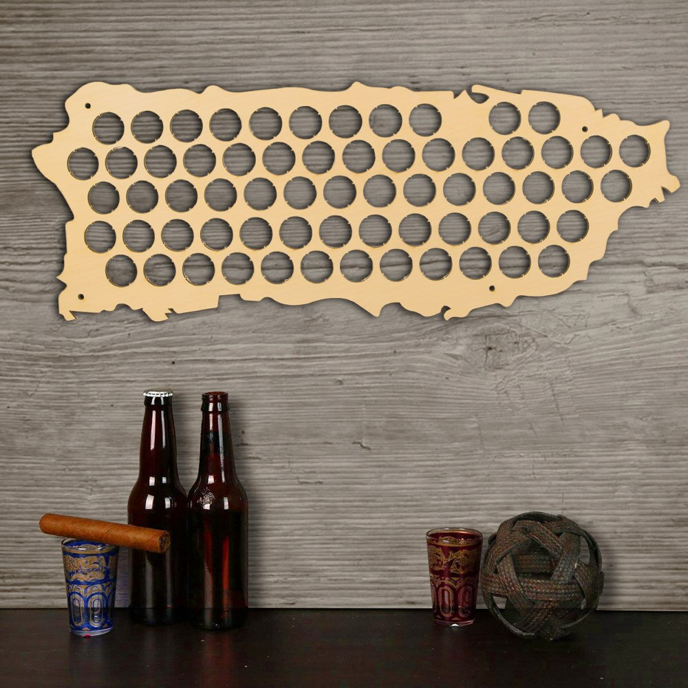 Wall Mounted  Cap Map Of Puerto Rico Wooden Map Display Board Wood Craft For Cap Collector  Drinker - Woody Signs Co.