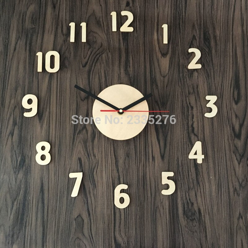 DIY Wall Clock Adhensive Wooden Surface Large Number Wall Clock Watch Sticker - Woody Signs Co.