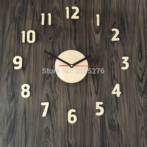 Home Decor DIY Wall Clock Adhensive Wooden Surface Large Number Wall Clock Watch Sticker - WoodySigns Co.