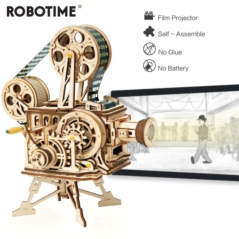 183pcs Vintage Diy 3D Hand Crank Film Projector Wooden Puzzle Game Assembly Vitascope Toy Gift for Children Adult - Woody Signs Co.