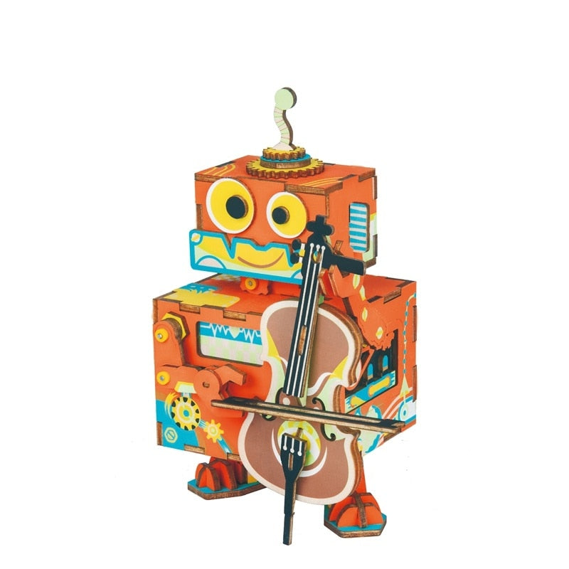 DIY 3D Little Robot Performer Wooden Puzzle Game Assembly Moveable Music Box Toy Gift for Children Kids Adult AMD53 - Woody Signs Co.
