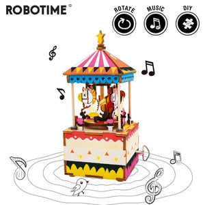 DIY Merry-go-round 3D Wooden Puzzle Game Assembly Rotatable Music Box Toy Gift for Children Adult AM304 - Woody Signs Co.