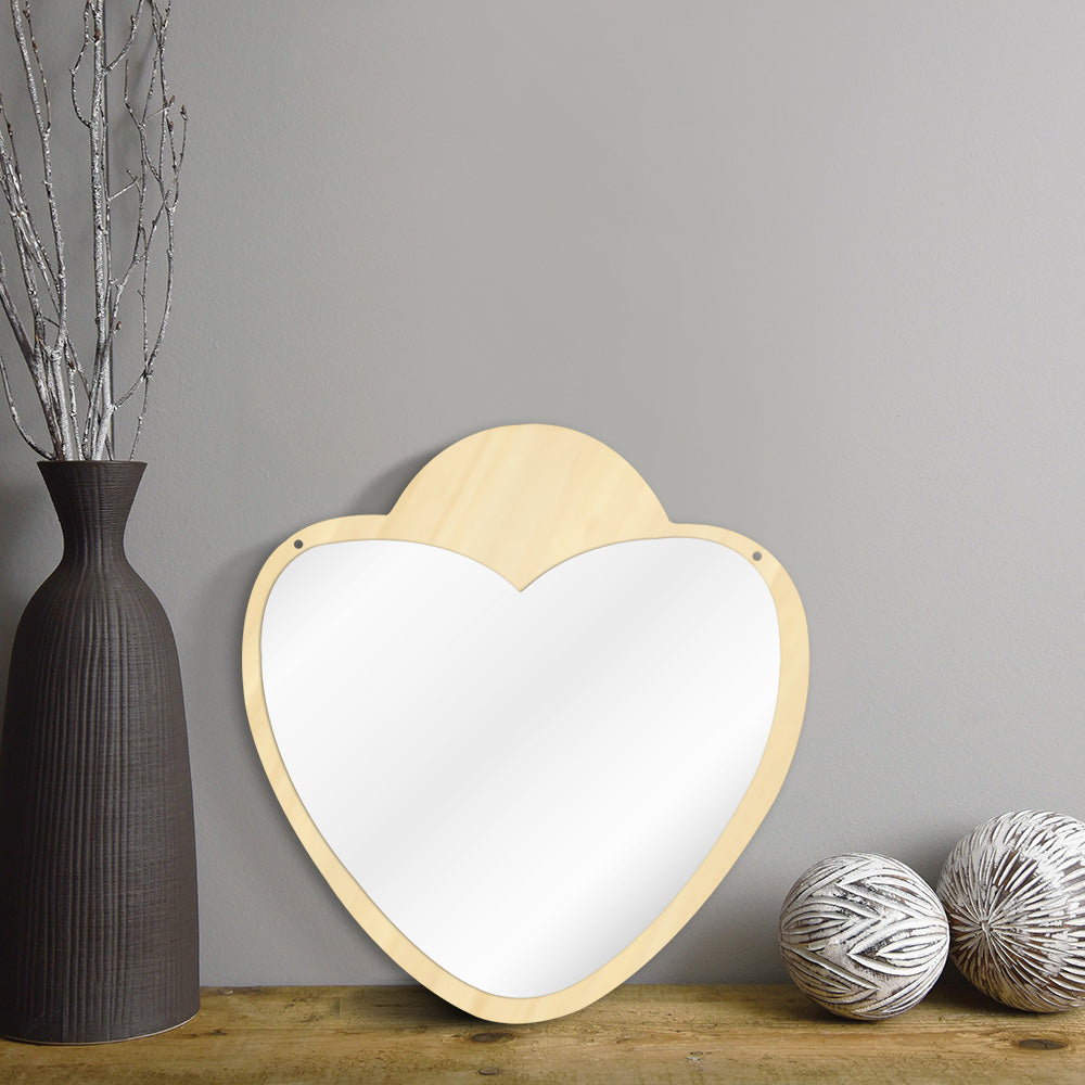 Heart Shaped Decorative Wall Mirror With Wooden Back Make-up Wall Hanging Mirror Unique Valentines Day Gift Idea For Her - WoodySigns Co.