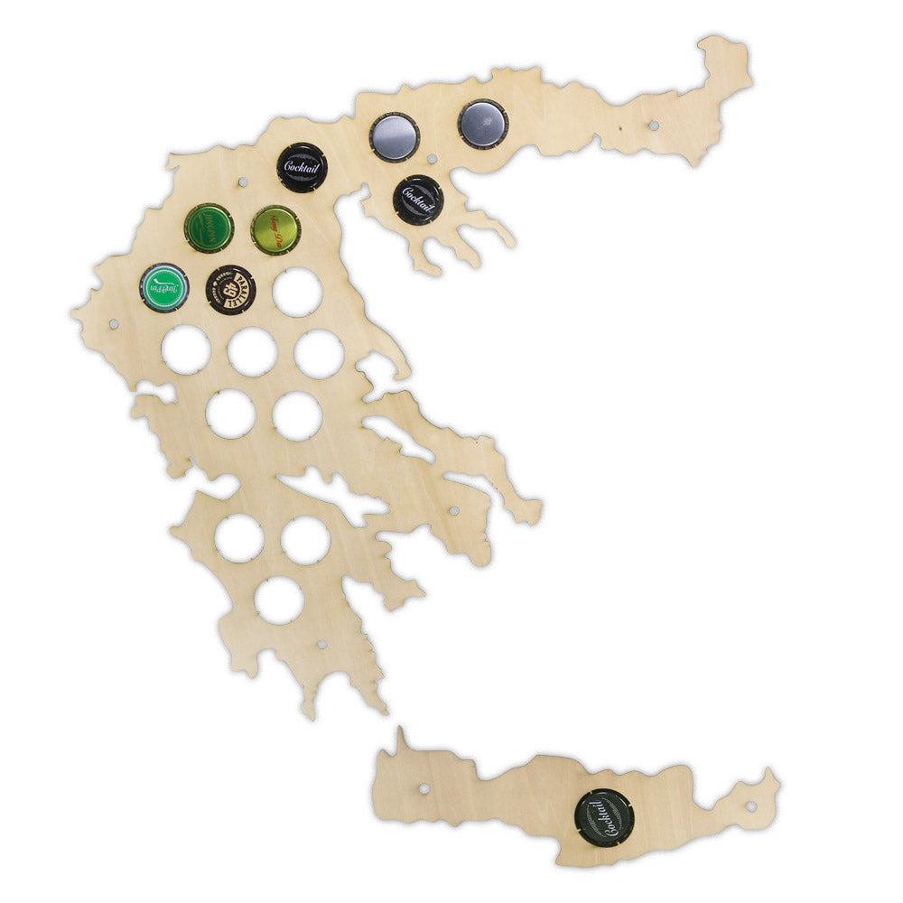 Greek  Caps Holder Patriotic Collection Gadgets Greece Bottle  Cap Map Wooden Laser Engraved Maps  Decoration - Woody Signs Co.