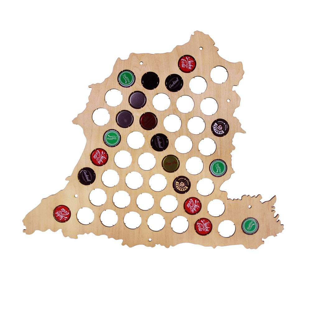 Bottle Cap Map Of Spain Wooden  Cap Map Collection Espana Hanging Display Map Spanish ation Accessories - Woody Signs Co.