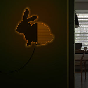 Modern Baby Room Bunny  Wall Mirror Woodland Animal Makeup Mirror With LED Lights Rabbit Illuminated Acrylic Mirror - Woody Signs Co.