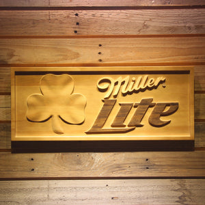 Miller Light Shamrock  3D Wooden Bar Signs - WoodySigns Co.