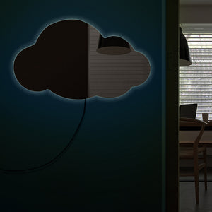 Cloudy Wall Mirror Weather Art Modern  Hanging Cloud  Mirror Cloud Silhouette Acrylic Mirror With LED Light - Woody Signs Co.