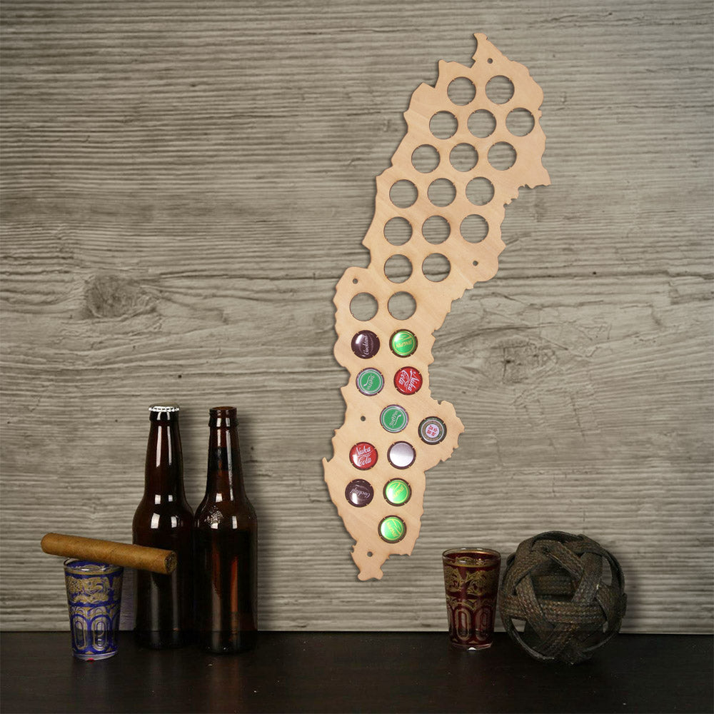 Swedent  Cap Maps Handmade Wooden Craft  Wall Mounted Maps  Bottle Caps Collection Gadget - Woody Signs Co.