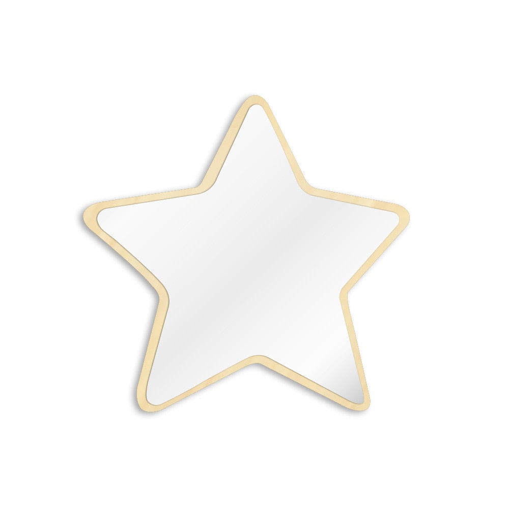 Pentastar Shaped Wall Mirror Five-pointed Star Decorative Acrylic Safety Mirror With Wood Back Children Kid Room Wall Decor - WoodySigns Co.