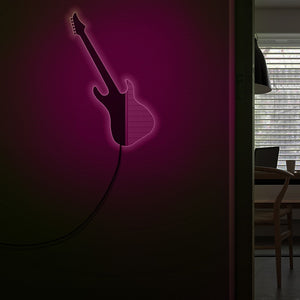 Rocking Guitar LED Lighting Wall Mirror  Rock'n'Roll Electronic Guitar Handmade Acylic Mirror For Music Room Studio - Woody Signs Co.