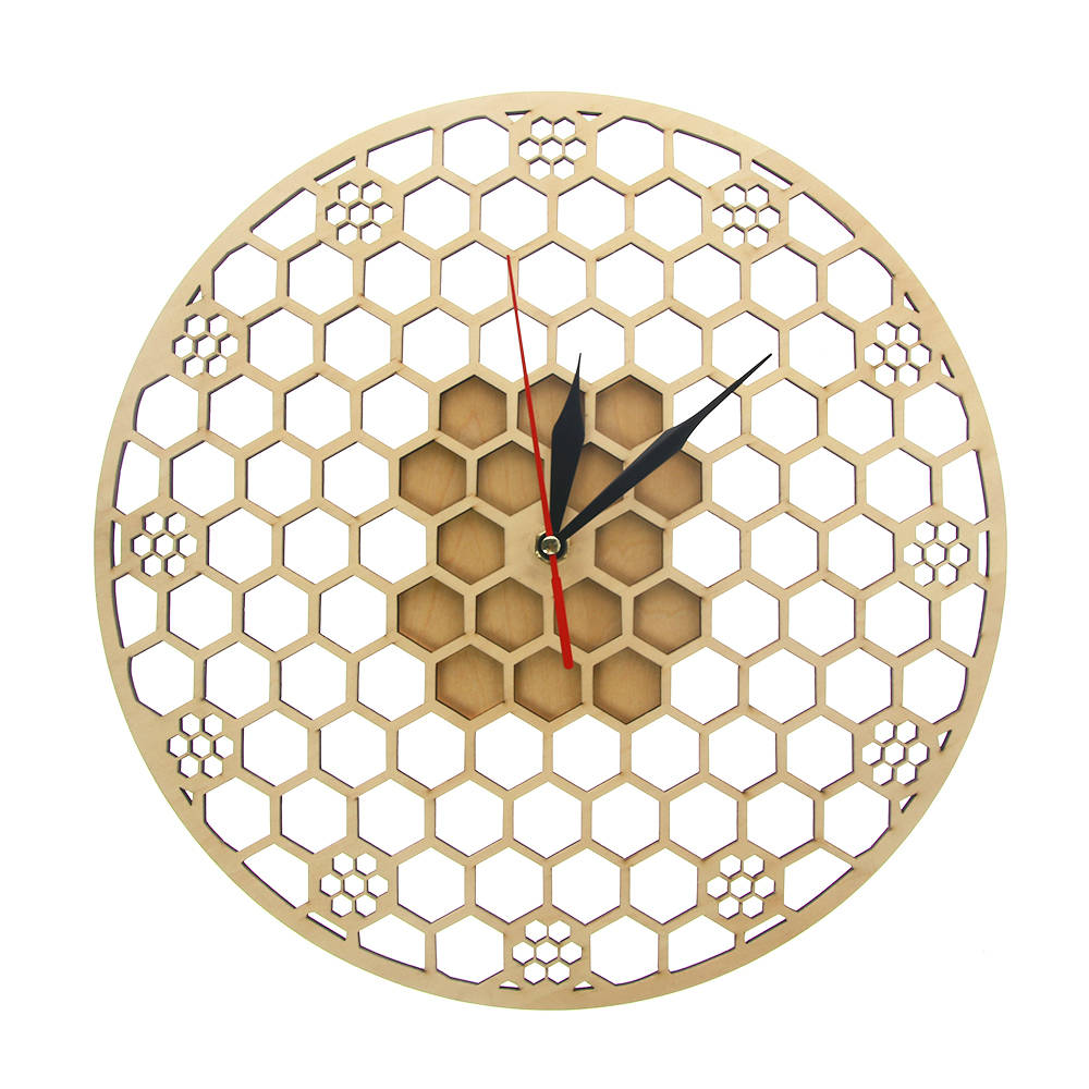 Hexagon Wooden Wall Clock Honeycomb Sacred Geometry Comb Modern Mandala Clock Watch Bee Lover Keeper Room Deco Gift Silent Sweep - WoodySigns Co.