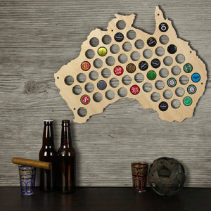 Australia  Cap Map Laser Engraved Hanging Wooden Map Creative Wall Decor Gift For Cap Collector Modern Home Decor - WoodySigns Co.