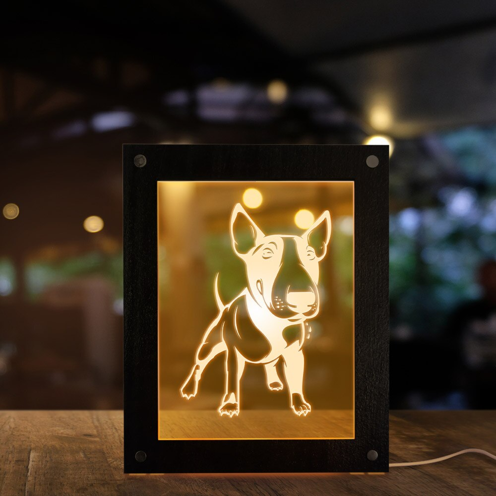 Bull Terrier Dog 3D Magic Night Lamp Photo Frame Kid Room Led Luminous Photo Frame USB Operated Sleepy Desk Lamp for - Woody Signs Co.