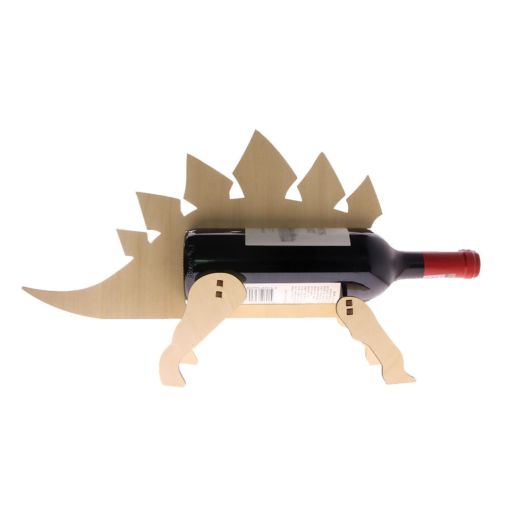 Stegosaurus  Bottle Holder Wooden Dinosaur  Rack Modern  Storage Minimalist   For  Lover - Woody Signs Co.