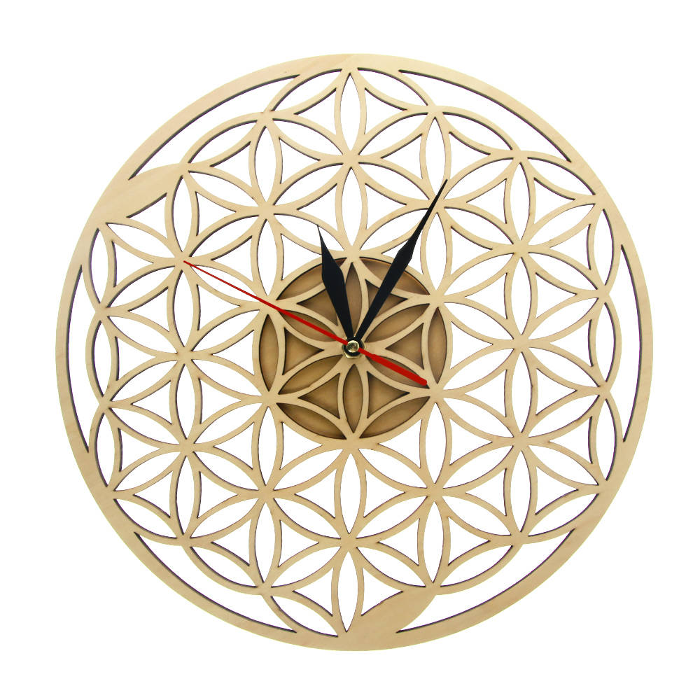 Flower of Life Intersect Rings Geometric Wooden Wall Clock Sacred Geometry Laser Cut Clock Watch Housewarming Gift Room Decor - Woody Signs Co.