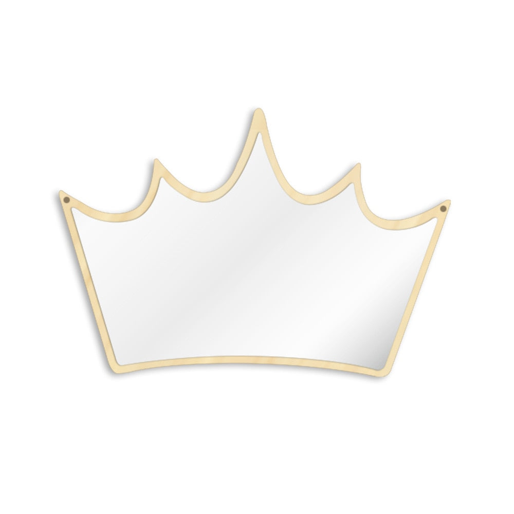 King of Crown  Wall Mirror Wood and Acrylic Queen Princess Crown Safety Mirror Kid Room Baby Mirror Gift For Her - Woody Signs Co.