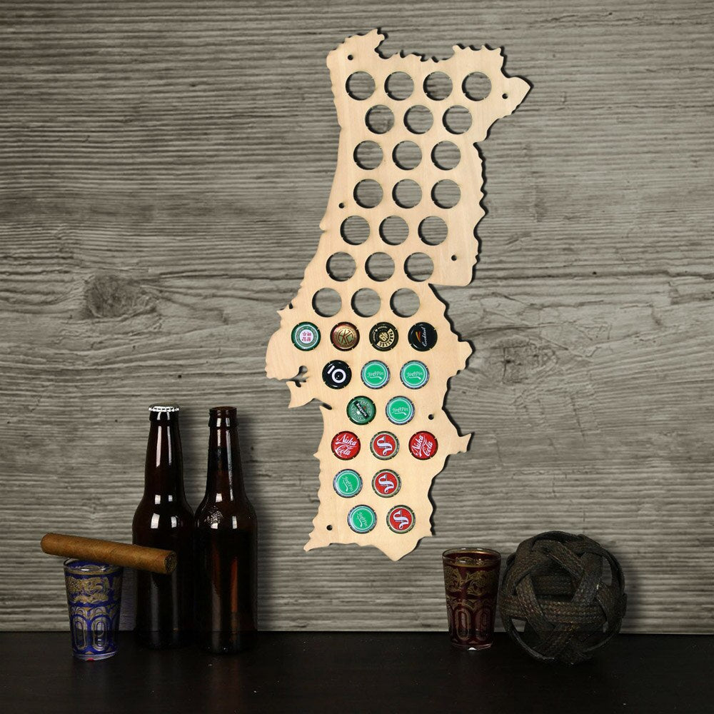 Wall Mounted  Wooden Craft Maps Of Portugal  Caps Maps  Home Bar Indoor Decoration - Woody Signs Co.