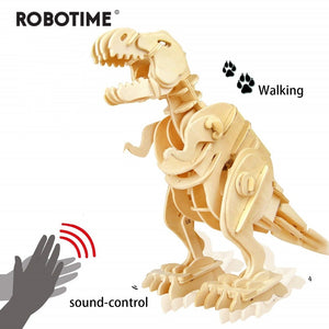 Creative DIY 3D Walking T-rex Wooden Puzzle Game Assembly Sound Control Dinosaur Toy Gift for Children Adult D210 - Woody Signs Co.