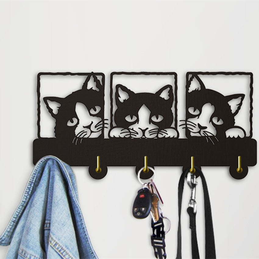Peeping Cat 3D  Hook Rails Triple  With Lovley Cat Theme Clothing Hook Rack Hanger  Decoration - Woody Signs Co.