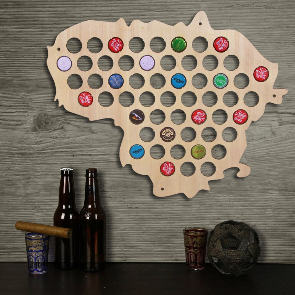 Lithuania  Bottle Cap Map Collection Art Custom-made  Cap Map Wooden Craft Gift For  Aficionado - Woody Signs Co.