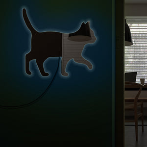 Cat Walking On The Wall  Mirror Girl Room Makeup Wall Mirror Kitten Cat  Moder Design Mirror With LED Light - Woody Signs Co.
