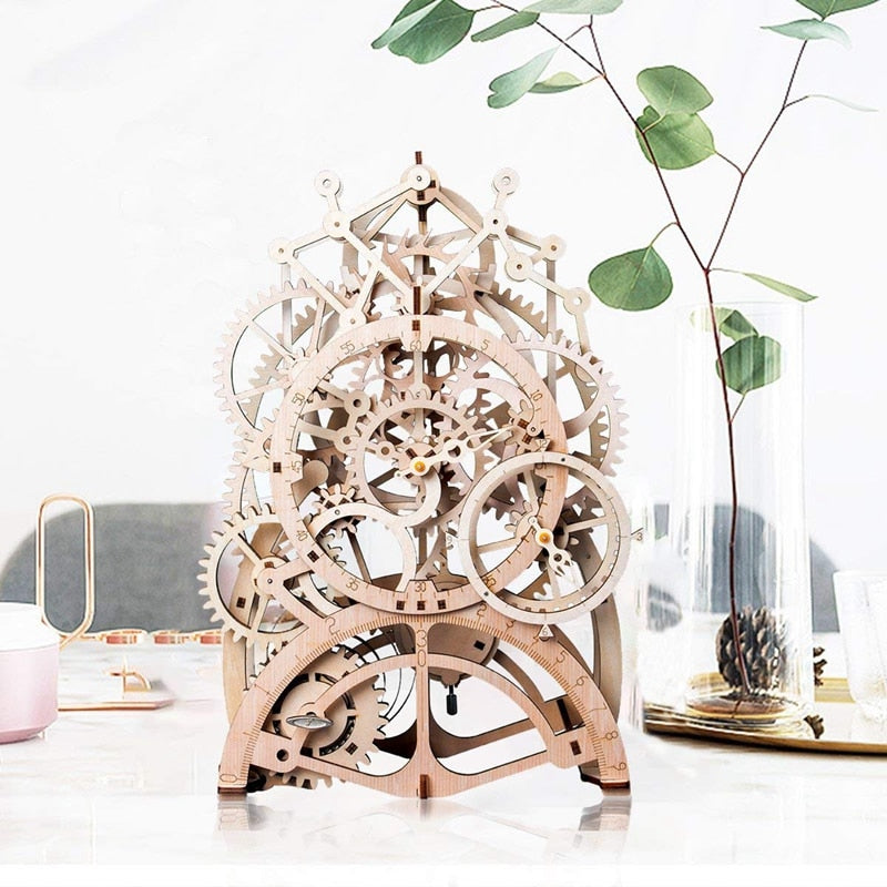 DIY Gear Drive Pendulum Clock by Clockwork  3D Wooden Model Building Kits Toys Hobbies Gift for Children Adult LK501 - WoodySigns Co.