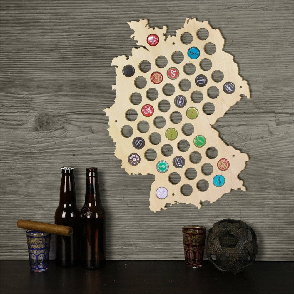 Creative Laser Engraved Hanging Wooden Germany Map  Bottle  Cap Maps Cap Collector Gadgets Decor - Woody Signs Co.