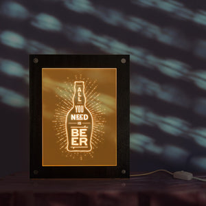 All You Need Is Beer Electric Display Sign For Pub Decoration Beer Company Brew LED Business Logo Custom Lighting Wooden Frame - Woody Signs Co.