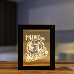 I Love My Beagle Handmade  Picture Frame LED Sleepy Bedside Lamp English Beagle Puppy Dog Pet Lighting Frame Decor - Woody Signs Co.