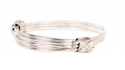 A2 - 3 Silver strand bracelet with 2 silver knots | African San Taxidermy Studio