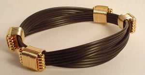 A7 - Synthetic Elephant hair bracelet with 4 Gold and silver knots | African San Taxidermy Studio