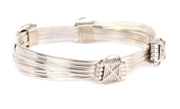 M2 - 4 Silver strand bracelet with 4 Silver knots | African San Taxidermy Studio