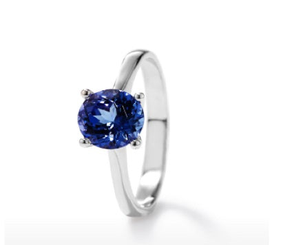 TR6 - 0.80 CT Tanzanite Solitaire Round 4 Claw Ring | African San Taxidermy Studio