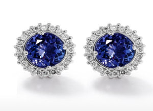 TDE24 - 2 Tz CT - Tanzanite Round Halo Earrings | African San Taxidermy Studio