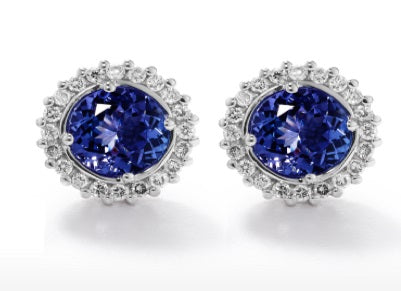 TDE23 - 1.7 Tz CT - Tanzanite Round Halo Earrings | African San Taxidermy Studio