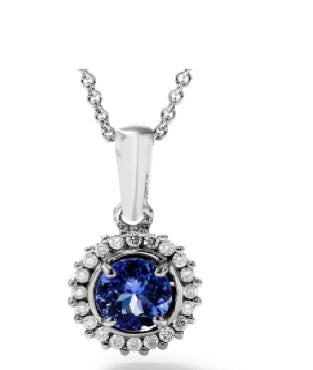 TDP22 - 0.5 Tz MM - Tanzanite Round Halo Pendant | African San Taxidermy Studio