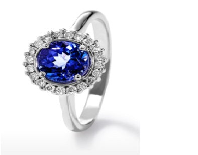 TDR21 - 0.25 Tz MM - Tanzanite Round Halo Ring | African San Taxidermy Studio