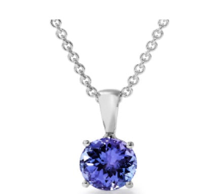 TP6 - 0.80 CT Tanzanite Solitaire Round 4 Claw Pendant | African San Taxidermy Studio