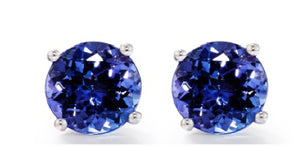 TE6 - 1.7 CT Tanzanite Solitaire 4 Claw Earrings | African San Taxidermy Studio