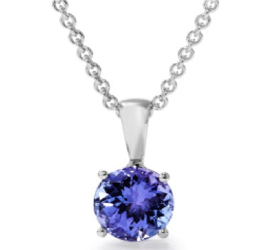 Tanzanite Solitaire Light 4 Claw Pendant - 4.0 mm (Silver) | African San Taxidermy Studio