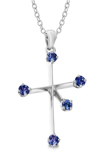 Tanzanite Southern Cross Pendant - 4.0 mm Silver | African San Taxidermy Studio