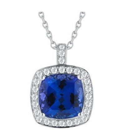 JP0047 - 4.5 mm - 0.50 CT Tanzanite Halo Square Cushion 4 Claw Pendant | African San Taxidermy Studio