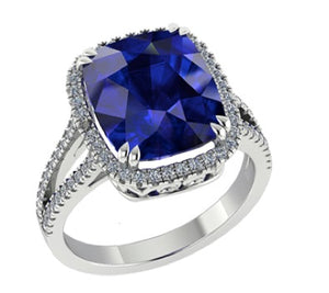 JR0296 - 8 mm - 2.15 CT Tanzanite Halo Square Cushion Claw Ring | African San Taxidermy Studio