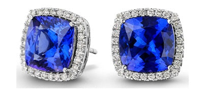 JE0037 - 5 mm - 1.00 CT Tanzanite Square Halo Earrings | African San Taxidermy Studio