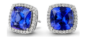 JE0039 - 4 mm -0.60 CT Tanzanite Square Halo Earrings | African San Taxidermy Studio