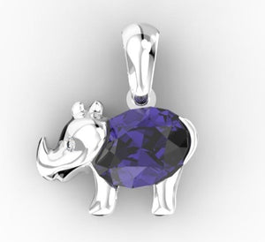 Tanzanite Light Rhino Pendant - 6 x 4 mm (Silver) | African San Taxidermy Studio