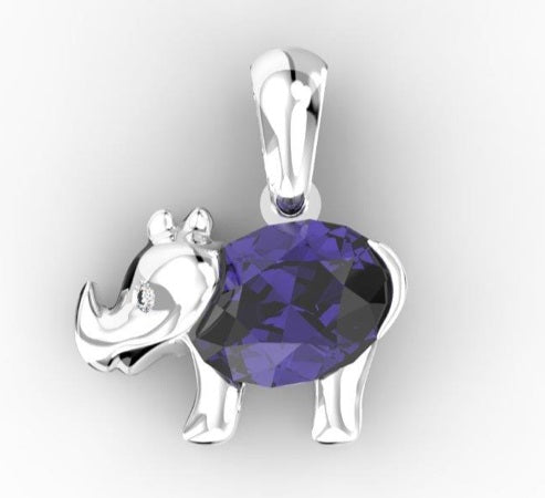 Tanzanite Light Rhino Pendant - 7 x 5 mm (Silver) | African San Taxidermy Studio