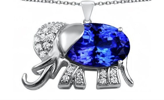 Tanzanite Light Elephant Pendant - 6 x 4 mm | African San Taxidermy Studio